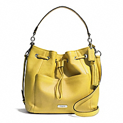 COACH F27003 - AVERY LEATHER DRAWSTRING SILVER/CHARTREUSE