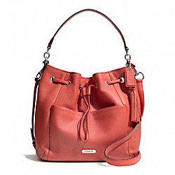 COACH F27003 Avery Leather Drawstring SILVER/SIENNA