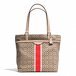 COACH F27008 - SIGNATURE STRIPE 6CM TOTE SILVER/KHAKI/HOT ORANGE