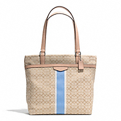 COACH F27008 Signature Stripe 6cm Tote SILVER/LIGHT KHAKI/CORNFLOWER