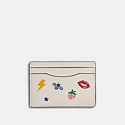 CARD CASE WITH ALLOVER MOTIFS - f27035 - CHALK MULTI/SILVER