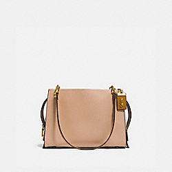 ROGUE SHOULDER BAG IN COLORBLOCK - F27054 - BEECHWOOD/OLD BRASS