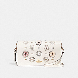 COACH F27086 Foldover Crossbody Clutch With Cut Out Tea Rose CHALK/LIGHT GOLD