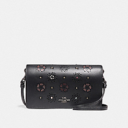 COACH F27087 Foldover Crossbody Clutch With Cut Out Tea Rose BLACK/DARK GUNMETAL