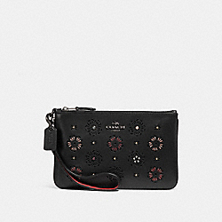 COACH F27089 Small Wristlet With Cut Out Tea Rose BLACK/DARK GUNMETAL