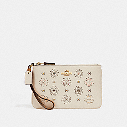 COACH F27089 Small Wristlet With Cut Out Tea Rose CHALK/LIGHT GOLD