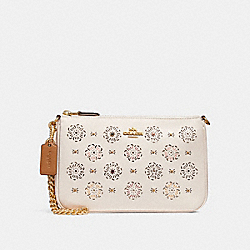 COACH F27090 Nolita Wristlet 22 With Cut Out Tea Rose CHALK/LIGHT GOLD