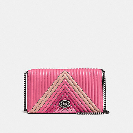 COACH F27091 FOLDOVER CHAIN CLUTCH WITH COLORBLOCK QUILTING AND RIVETS BRIGHT PINK/MULTI/DARK GUNMETAL