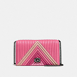 FOLDOVER CHAIN CLUTCH WITH COLORBLOCK QUILTING AND RIVETS - F27091 - BRIGHT PINK/MULTI/DARK GUNMETAL