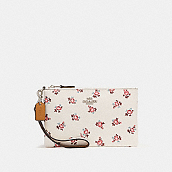 SMALL WRISTLET WITH FLORAL BLOOM PRINT - f27094 - CHALK FLORAL BLOOM/SILVER
