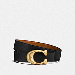 COACH F27099 - SIGNATURE BUCKLE REVERSIBLE BELT, 32MM BLACK/1941 SADDLE