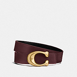 SIGNATURE BUCKLE REVERSIBLE BELT, 32MM - F27099 - OXBLOOD/BLACK BRASS