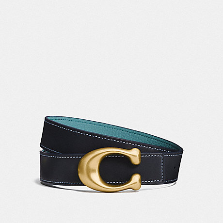 COACH F27099 SIGNATURE BUCKLE REVERSIBLE BELT, 32MM MIDNIGHT NAVY/MARINE