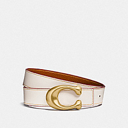 COACH F27099 Signature Buckle Reversible Belt, 32mm CHALK/1941 SADDLE
