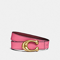 SIGNATURE BUCKLE REVERSIBLE BELT, 32MM - F27099 - BRIGHT PINK/WINE