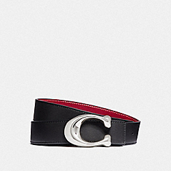 COACH F27099 Signature Buckle Reversible Belt, 32mm BLACK/1941 RED NICKEL
