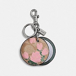ROSE PRINT MIRROR BAG CHARM - f27108 - SILVER/BLUSH