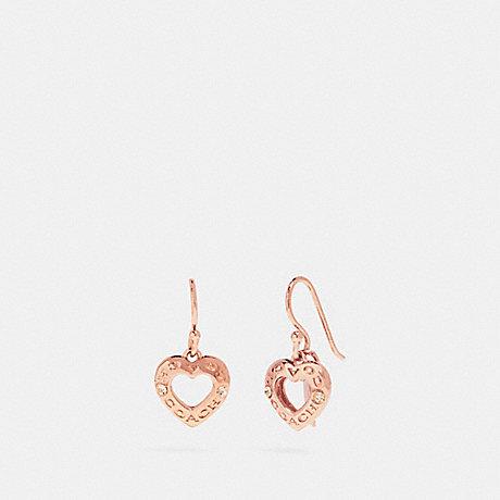 Coach F27136 Open Circle Heart Drop Earrings Rosegold