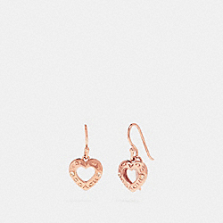 OPEN CIRCLE HEART DROP EARRINGS - f27136 - ROSEGOLD