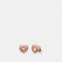 OPEN CIRCLE HEART STUD EARRINGS - f27137 - ROSEGOLD