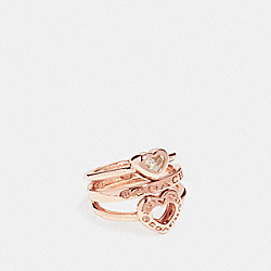 OPEN CIRCLE HEART RING SET - f27138 - ROSEGOLD