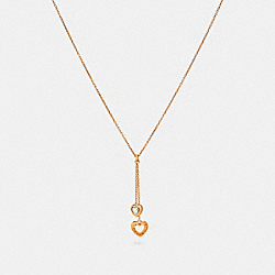 OPEN CIRCLE HEART LARIAT NECKLACE - f27144 - ROSEGOLD
