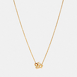 BLOOMING FLORA CLUSTER NECKLACE - f27168 - GOLD