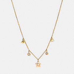 BLOOMING FLORA CHARM NECKLACE - f27170 - GOLD
