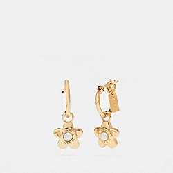 COACH F27174 Blooming Flora Huggie Earrings GOLD