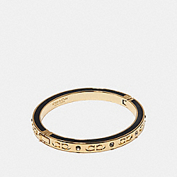 COACH F27177 Kissing C Hinged Bangle BLACK/GOLD
