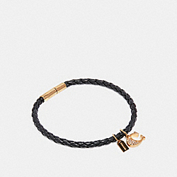 COACH F27192 - SIGNATURE LEATHER BRACELET BLACK/GOLD
