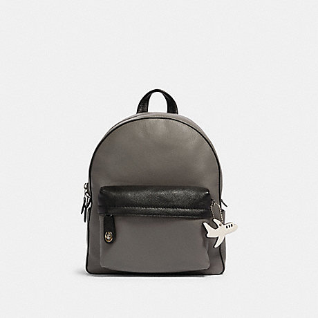 COACH F27212 CAMPUS BACKPACK IN COLORBLOCK WITH AIRPLANE SV/HEATHER-GREY-BLACK