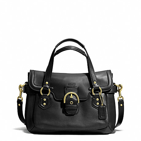 COACH F27231 CAMPBELL LEATHER SMALL FLAP SATCHEL BRASS/BLACK