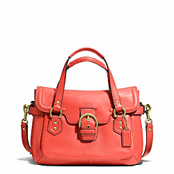 COACH F27231 - CAMPBELL LEATHER SMALL FLAP SATCHEL BRASS/HOT ORANGE