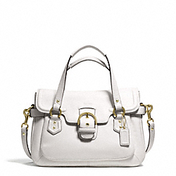 COACH F27231 Campbell Leather Small Flap Satchel BRASS/IVORY