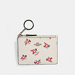 COACH F27275 Mini Skinny Id Case With Floral Bloom Print SV/CHALK FLORAL BLOOM