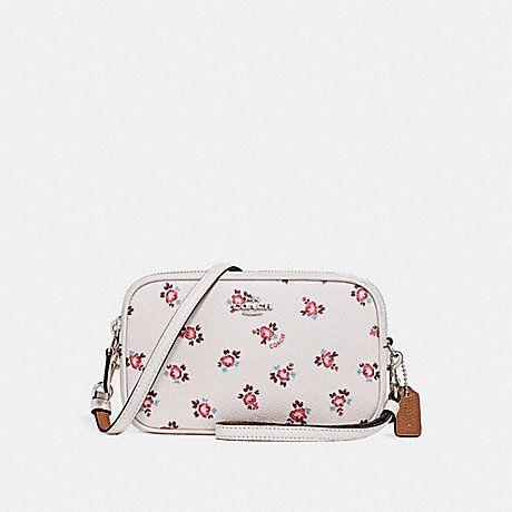 COACH F27276 CROSSBODY CLUTCH WITH FLORAL BLOOM PRINT CHALK FLORAL BLOOM/SILVER