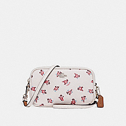 CROSSBODY CLUTCH WITH FLORAL BLOOM PRINT - F27276 - CHALK FLORAL BLOOM/SILVER