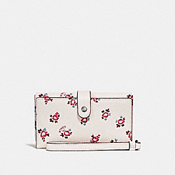 PHONE WRISTLET WITH FLORAL BLOOM PRINT - F27277 - CHALK FLORAL BLOOM/SILVER