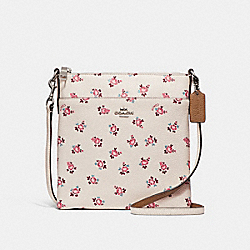 MESSENGER CROSSBODY WITH FLORAL BLOOM PRINT - F27278 - CHALK FLORAL BLOOM/SILVER