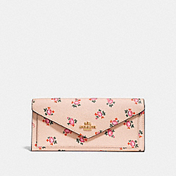 SOFT WALLET WITH FLORAL BLOOM PRINT - F27280 - BEECHWOOD FLORAL BLOOM/LIGHT GOLD