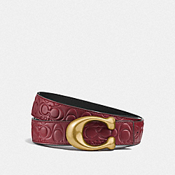 SIGNATURE BUCKLE REVERSIBLE BELT, 32MM - F27292 - WINE/BLACK BRASS