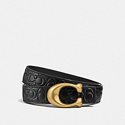 SIGNATURE BUCKLE REVERSIBLE BELT, 32MM - F27292 - BLACK/BLACK BRASS