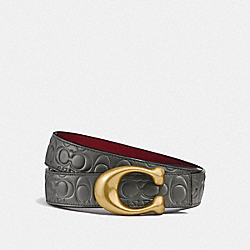 SIGNATURE BUCKLE REVERSIBLE BELT, 32MM - F27292 - HEATHER GREY/WINE BRASS