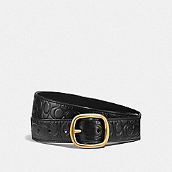 COACH F27293 Signature Buckle Reversible Belt, 32mm BLACK/BLACK BRASS