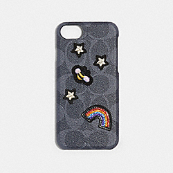 COACH F27333 - SIGNATURE IPHONE 7/X CASE WITH PRETTY PRAIRIE PATCHES DENIM/MULTICOLOR
