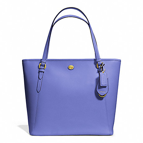 COACH F27349 PEYTON LEATHER ZIP TOP TOTE BRASS/PORCELAIN-BLUE