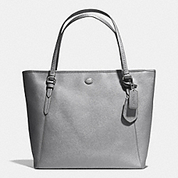 COACH F27349 - PEYTON LEATHER ZIP TOP TOTE SILVER/ANTHRACITE