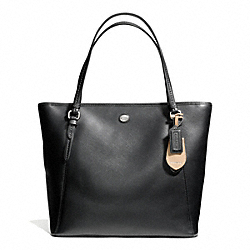 PEYTON LEATHER ZIP TOP TOTE - f27349 - SILVER/BLACK