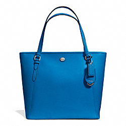 COACH F27349 Peyton Leather Zip Top Tote SILVER/CERULEAN